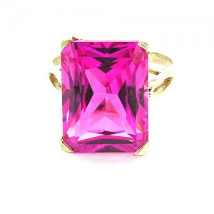 Luxury Solid 14ct Yellow Gold Large 16x12mm Octagon cut Pink Sapphire Ring - Finger Sizes K to Y Available - Suitable as an A
