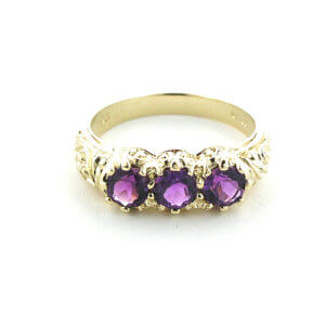 Luxury Solid Yellow 9ct Gold Natural Amethyst Art Nouveau Carved Trilogy Ring - Finger Sizes K to Z Available
