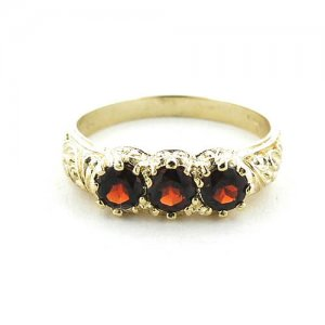 Luxury Solid Yellow 9ct Gold Natural Garnet Art Nouveau Carved Trilogy Ring - Finger Sizes K to Z Available