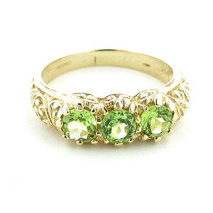 Luxury Solid Yellow 9ct Gold Natural Peridot Art Nouveau Carved Trilogy Ring - Finger Sizes K to Z Available