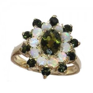 Fabulous Solid Yellow 9ct Gold Natural Green Tourmaline & Opal 3 Tier Large Cluster Ring - Finger Sizes K to Z Available