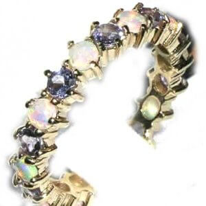 9ct Yellow Gold Ladies Opal & Tanzanite Full Eternity Ring