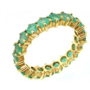 9ct Yellow Gold Ladies Emerald Full Eternity Ring