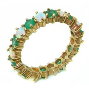 9ct Gold Opal & Emerald Eternity Ring