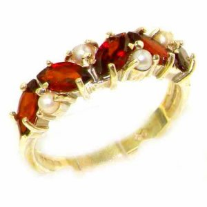 Unusual Solid Yellow 9ct Gold Natural Garnet & Pearl Eternity Ring