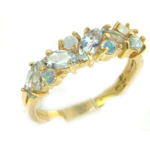 Unusual Solid 9ct Gold Natural Fiery Opal & Aquamarine Eternity Ring