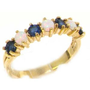 9ct Gold Opal & Sapphire Half Eternity Ring