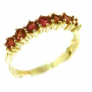 High Quality Solid Hallmarked 14ct Yellow Gold Natural Pink Tourmaline Eternity Ring