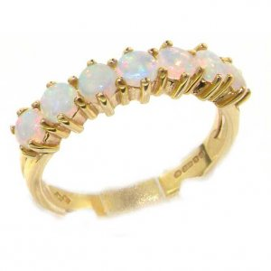 9ct Gold Fiery Opal Half Eternity Ring