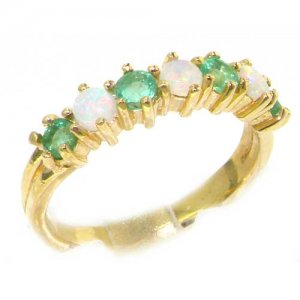 9ct Gold Opal & Emerald Half Eternity Ring