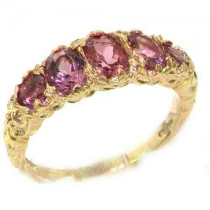 High Quality Solid 14ct Yellow Gold Natural Pink Tourmaline English Victorian Ring