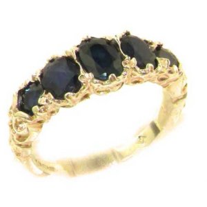 9ct Gold Blue Sapphire Five Stone Ring