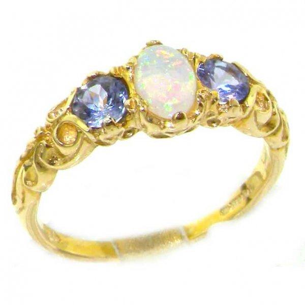 9ct Gold Fiery Opal & Tanzanite Ring