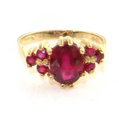 9ct Gold Ladies Ruby Ring