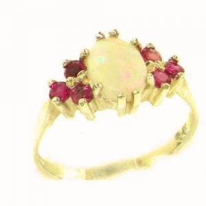 STUNNING ELEGANT 9CT GOLD REAL FIERY OPAL & RUBY RING