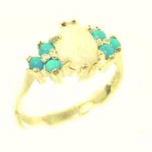 Ladies Contemporary Solid 9ct Gold Natural Opal & Turquoise Ring