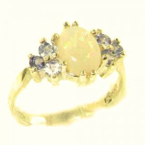 Ladies Contemporary Solid 14ct Yellow Gold Natural Opal & Tanzanite Ring