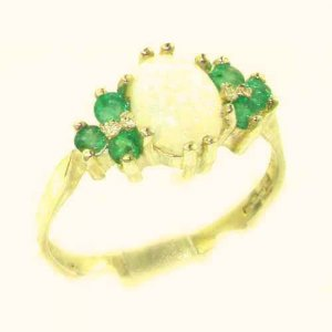 Ladies Contemporary Solid 14ct Yellow Gold Natural Opal & Emerald Ring