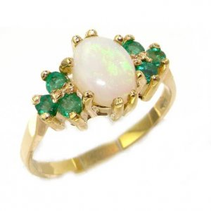Gorgeous 9ct Gold Opal & Emerald Dress Ring