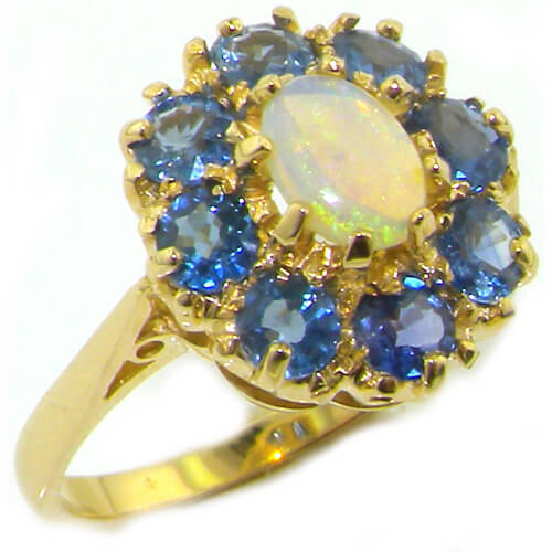 14K Yellow Gold Ladies Opal & Ceylon Sapphire Cocktail Ring- Finger Sizes L to Z Available