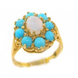 9ct Gold Opal & Turquoise Cluster Ring