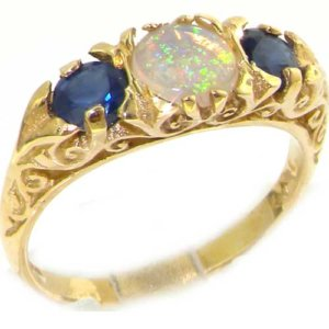 9ct Gold Opal & Blue Sapphire Ring