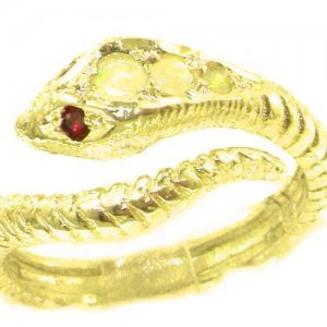 Fabulous Solid 9ct Gold Natural Fiery Opal & Ruby Detailed Snake Ring
