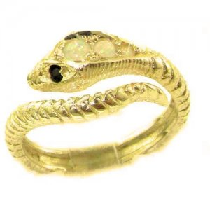 Fabulous Solid 9ct Gold Natural Fiery Opal & Sapphire Detailed Snake Ring