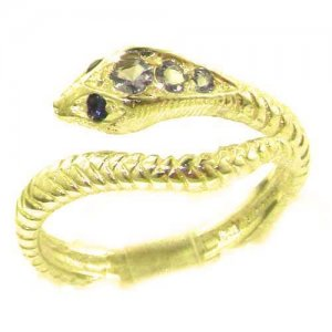 Fabulous Solid 14ct Yellow Gold Natural Tanzanite & Sapphire Detailed Snake Ring