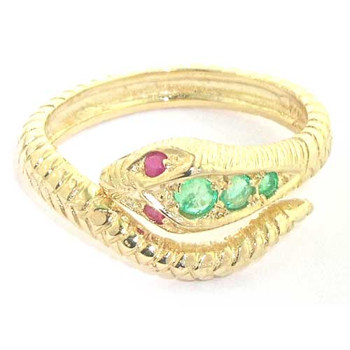 9ct Gold Emerald & Ruby Snake Ring