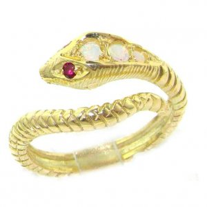 9ct Gold Opal & Ruby Snake Ring