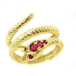 Fabulous Solid 9ct Gold Natural Ruby Detailed Snake Ring