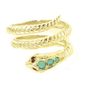 Fabulous Solid 9ct Gold Natural Turquoise & Ruby Detailed Snake Ring