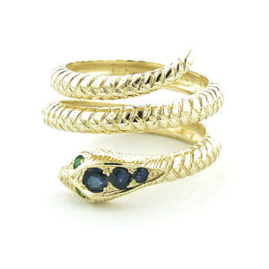 9ct Gold Sapphire & Emerald Coiled Snake RingFree P&P