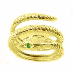 Fabulous Solid 9ct Gold Natural Fiery Opal & Emerald Detailed Snake Ring