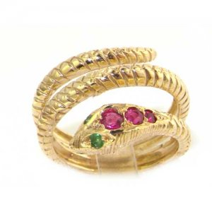 18ct Gold Ruby & Emerald Snake Ring