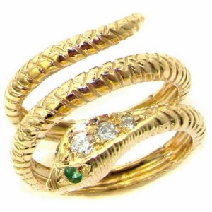 18ct Gold Diamond & Emerald Snake Ring