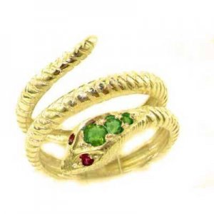 18ct Gold Emerald & Ruby Snake Ring