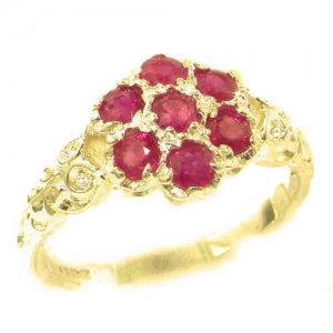 Luxury Ladies Solid 9ct Gold Natural Ruby Victorian Daisy Ring