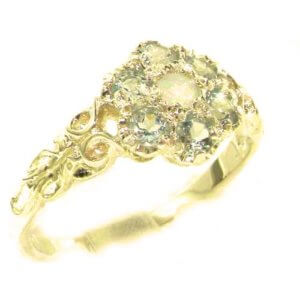 Victorian Ladies Solid 14ct Yellow Gold Natural Fiery Opal & Aquamarine Daisy Ring