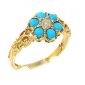 9ct Gold Pearl & Turquoise Daisy Ring