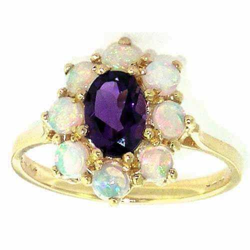 9ct Gold Amethyst & Opal Cluster Ring
