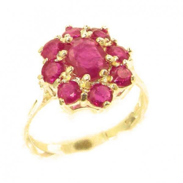 Luxury Ladies Solid 14ct Yellow Gold Genuine Natural Ruby Cluster Ring