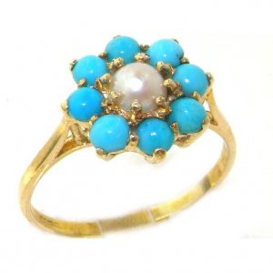 9ct Gold Pearl & Turquoise Ring