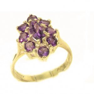 Luxury Ladies Solid British 14ct Yellow Gold Natural Amethyst Cluster Ring