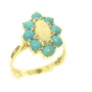 Luxury Ladies Solid British 9ct Gold Natural Opal & Turquoise Cluster Ring