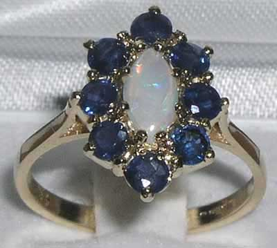 9ct Gold Marquise Opal & Sapphire Cluster Ring