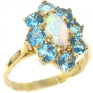 9ct Gold Vibrant Fiery Opal & Blue Topaz Cluster Ring