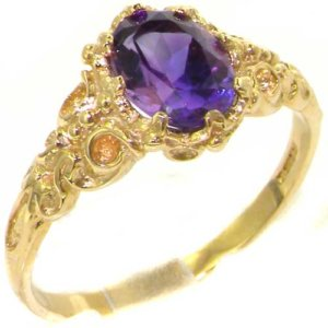 Luxurious Solid Yellow Gold Natural Amethyst Womens Solitaire Engagment Ring