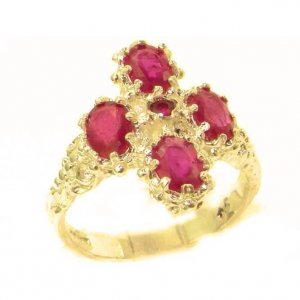 Victorian Design Solid 9ct Gold Natural Ruby Ring